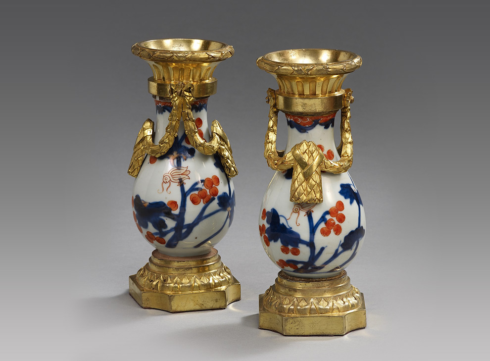 Ralph Gierhards A Pair Of French Imari Porcelain Ormolu Mounted
