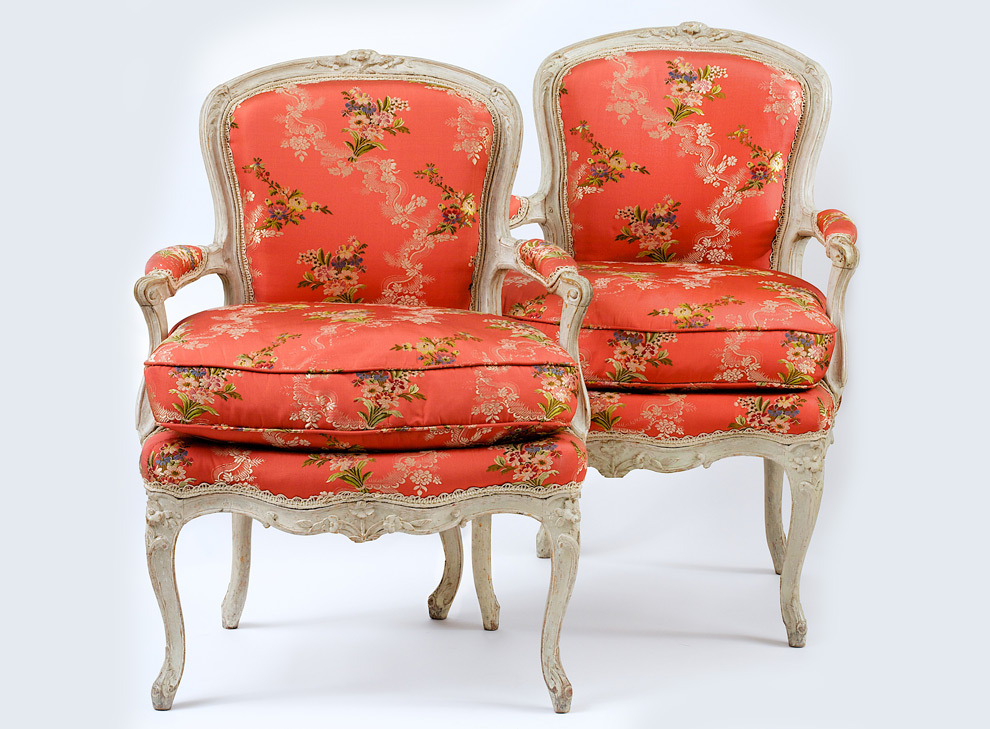 A Pair Of Ducted And Carved Rococo Chair