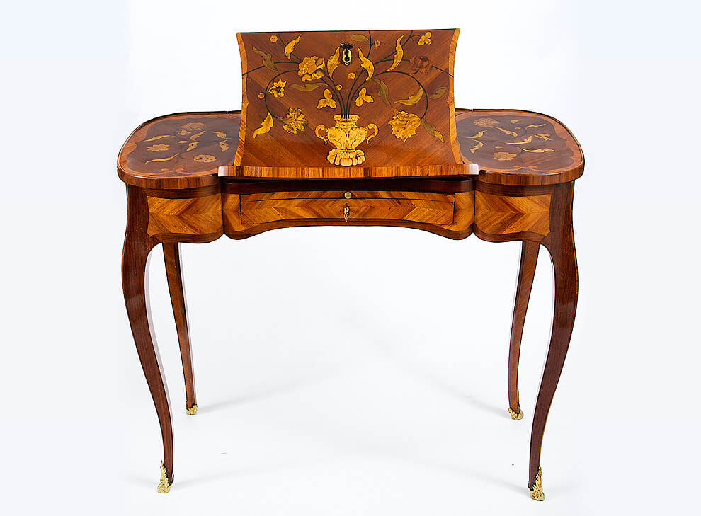 Ralph Gierhards A Louis Xv Tulipwood Amaranth And Floral Marquetry