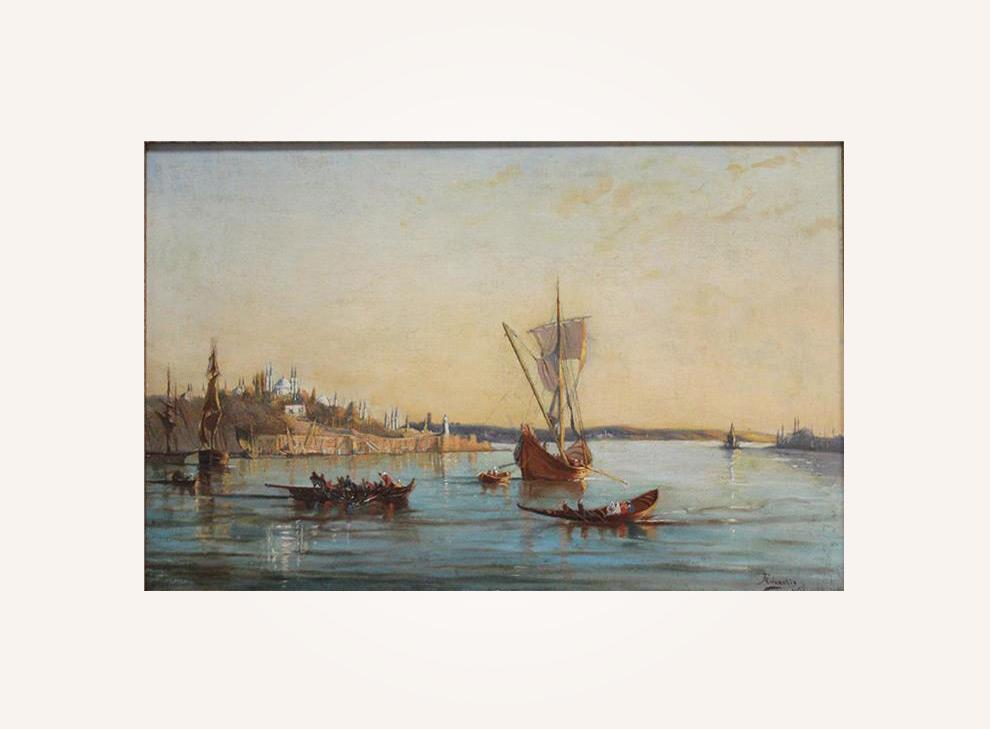 Konstantinopel mit Goldenem Horn in der Dämmerung