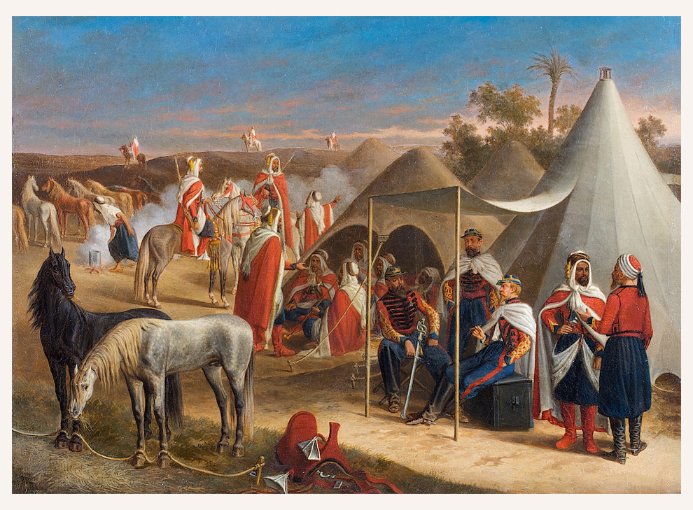 Oriental camp with Bedouin and cavalrymen