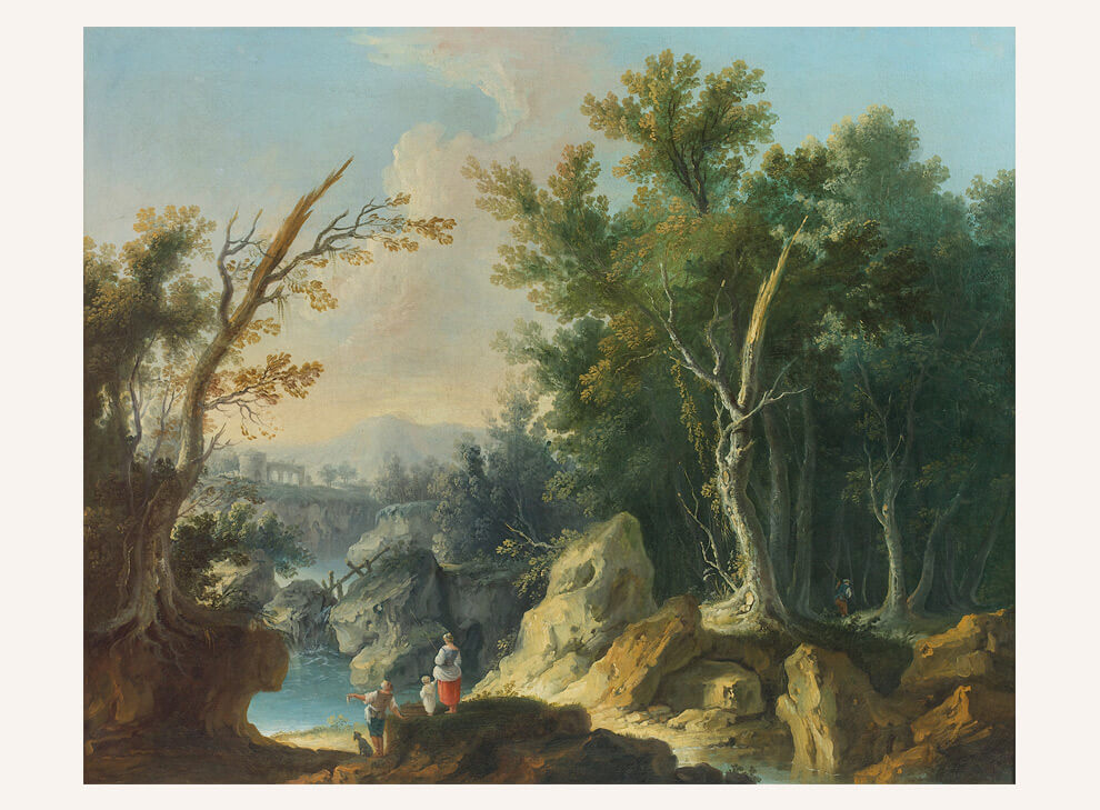 Fishermen in a mountainous Landscape