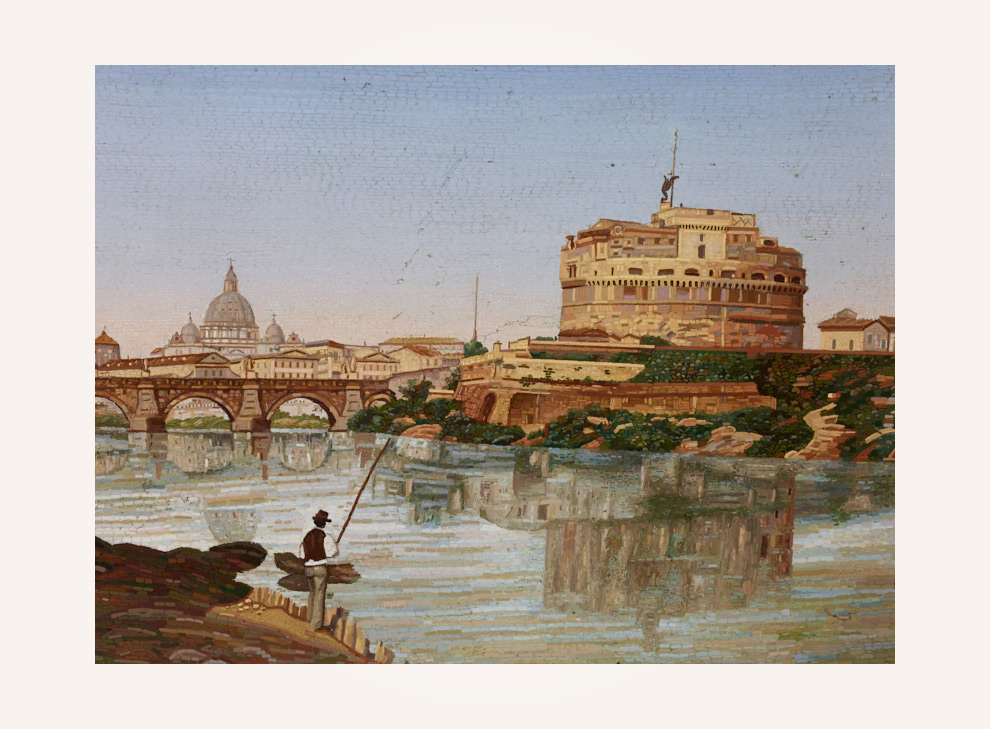 Rare Rome vedute with a view over the river Tiber on Ponte Sant'Angelo and Castel Sant'Angelo