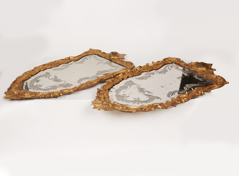 A Pair of Rococo Mirrors with two-lights