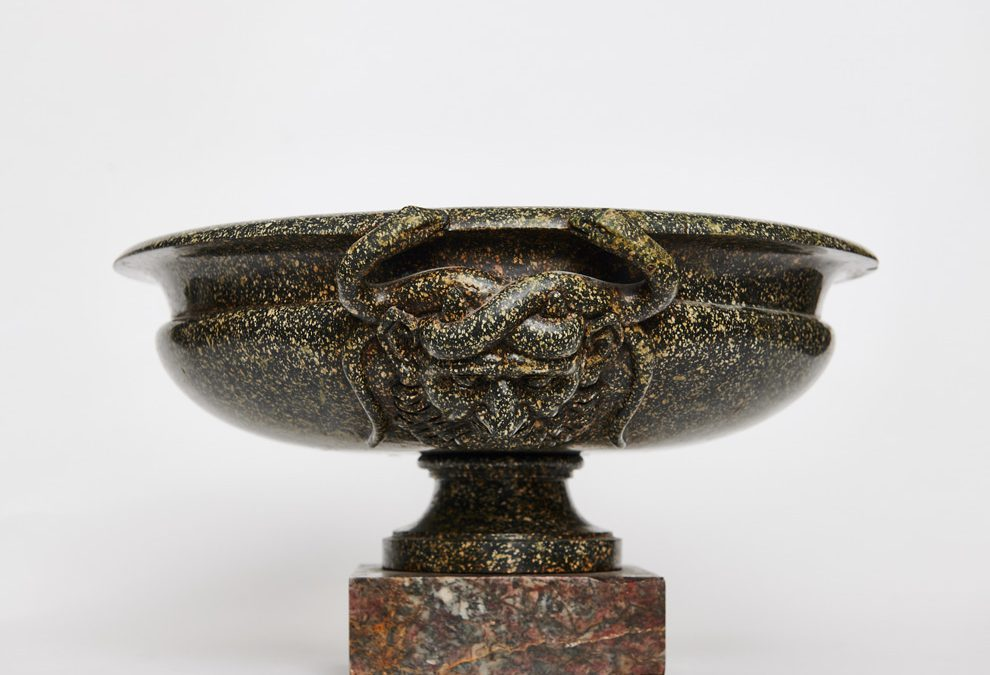A large green porphyry bowl
