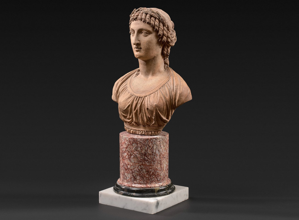 Terracotta bust of a woman after the greek style