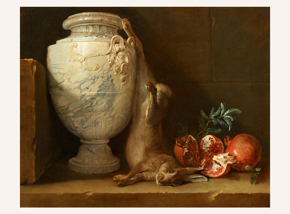 Still life with marble vase, rabbit and pomegranate