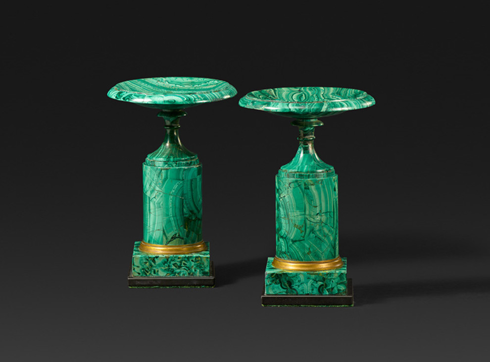A pair of gilt-bronze mounted malachite veneered tazze