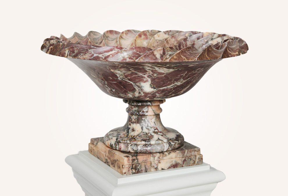 A large late 18th / early 19th century Italian Fleur De Pêcher marble tazza