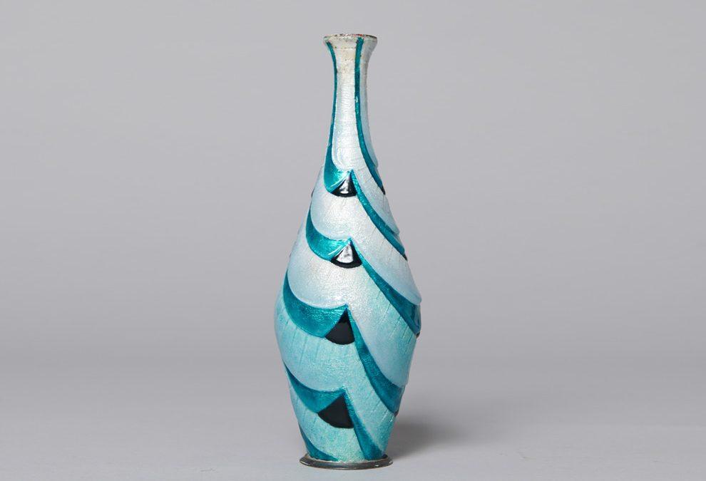 Vase soliflore à petit col évasé en métal émaillé