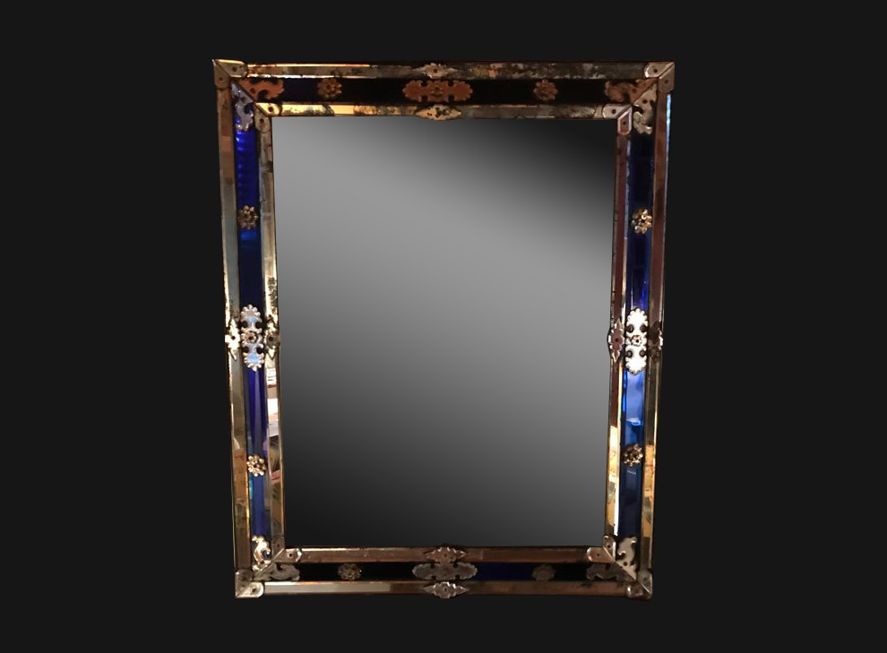 Mirror with blue glass and bronze ornaments