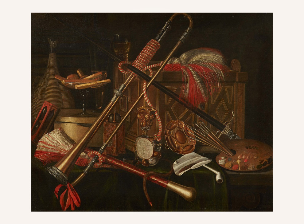 Still life with a chest, musical instruments, painters palette, hour glass, pots and candy factory