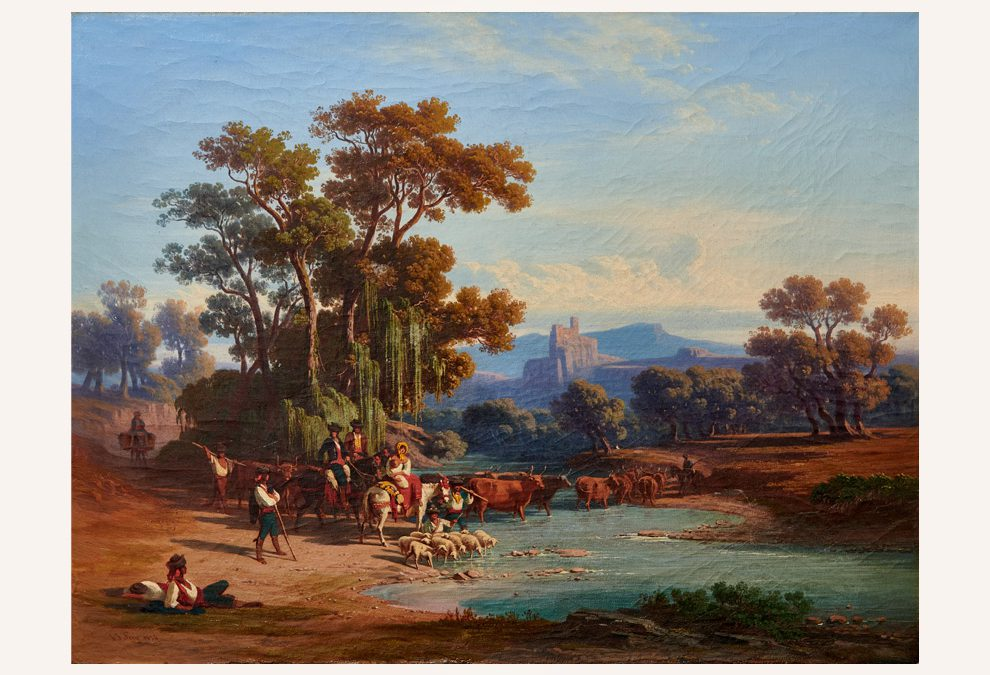 Shepherds at the ford in the Italian Campagna