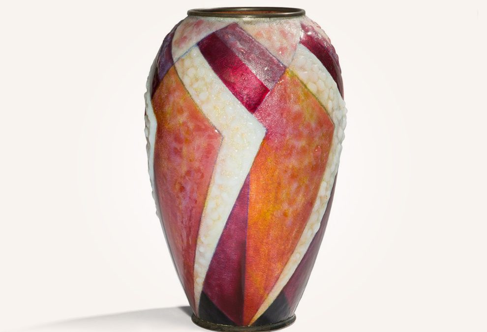 Enameled copper vase with geometric pattern in reds and white