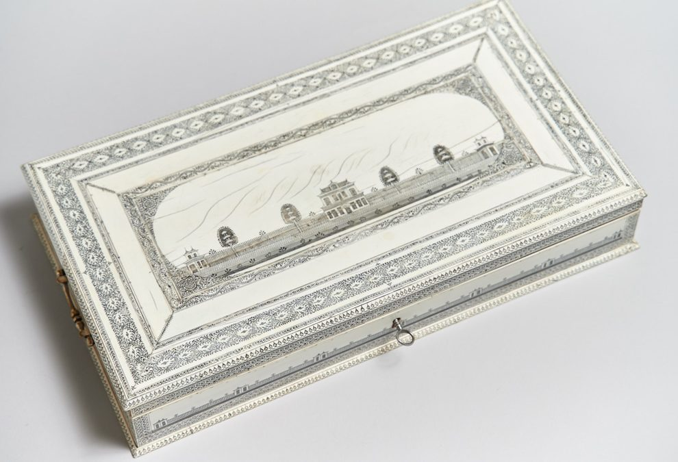 """An Anglo-Indian """"Vizagapatam"""" decorated ivory work box"""