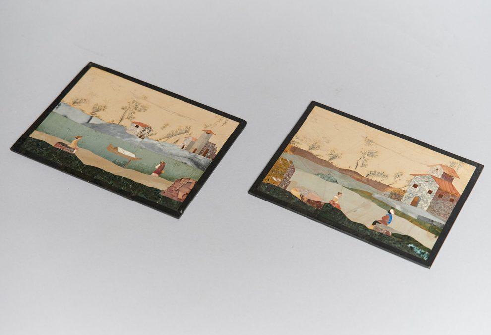 A pair of fine Pietra Dura plates