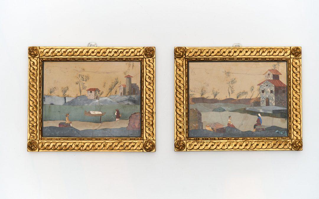 Ein Paar feine Pietra Dura Platten