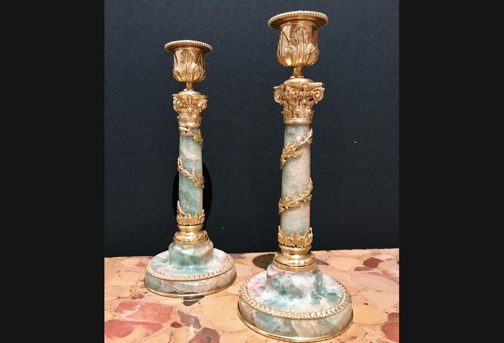 A pair of fine gilt bronze mounted  Spath Fluor candlesticks