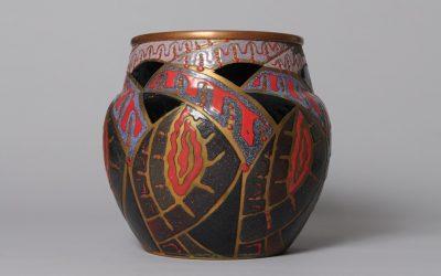 "Enameled copper vase ""Fantasy Pattern"""