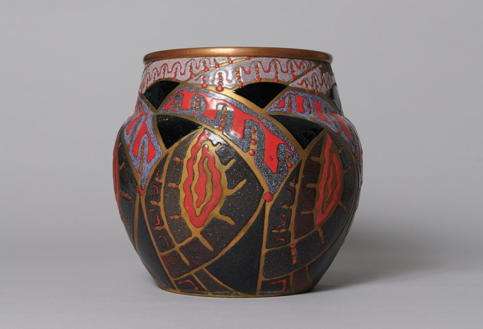 "Enameled Copper Vase ""Fantasy Pattern"""