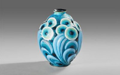 Enameled copper vase with floral motifs in turquoise, blue, white and gold