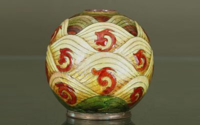 Enameled copper vase with wave patterns and red Chinese ornaments