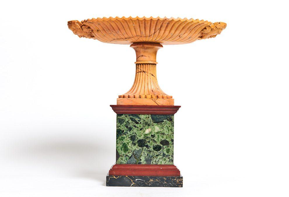 An Italian polychrome marble tazza