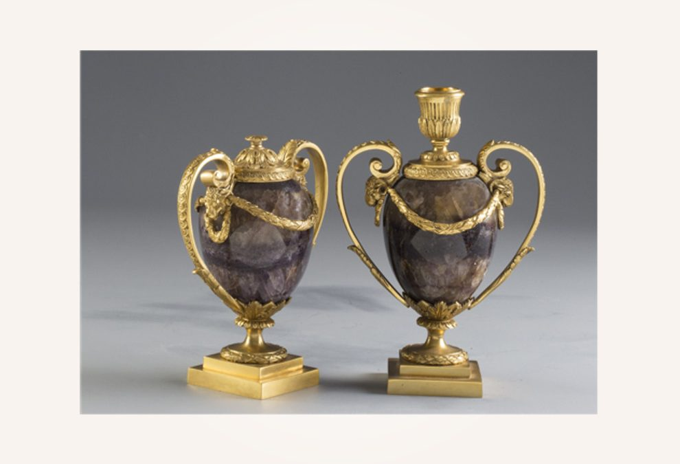 A pair of English George III ormolu-mounted Blue John Cassolettes
