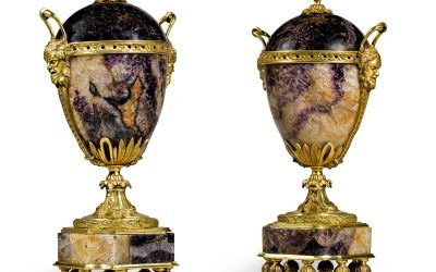 A pair of gilt-bronze mounted Blue John vases