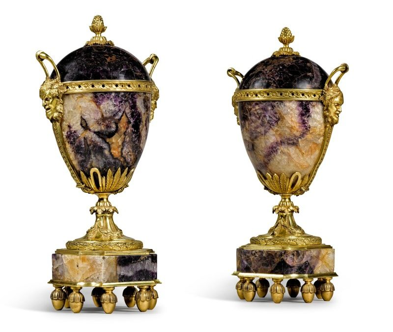 A pair of gilt-bronze mounted Blue John vases
