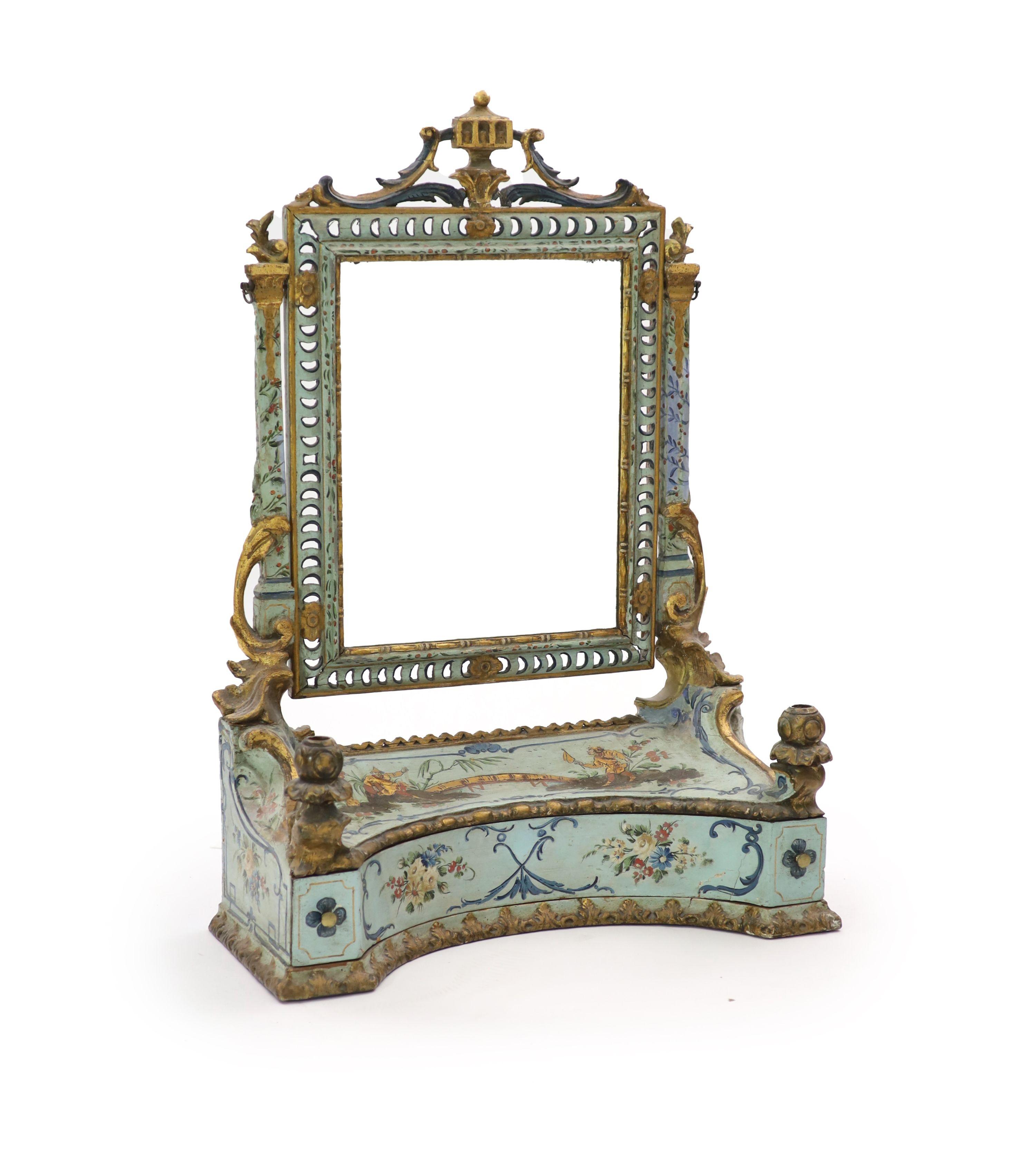 An 18th century Venetian painted pine toilet mirror